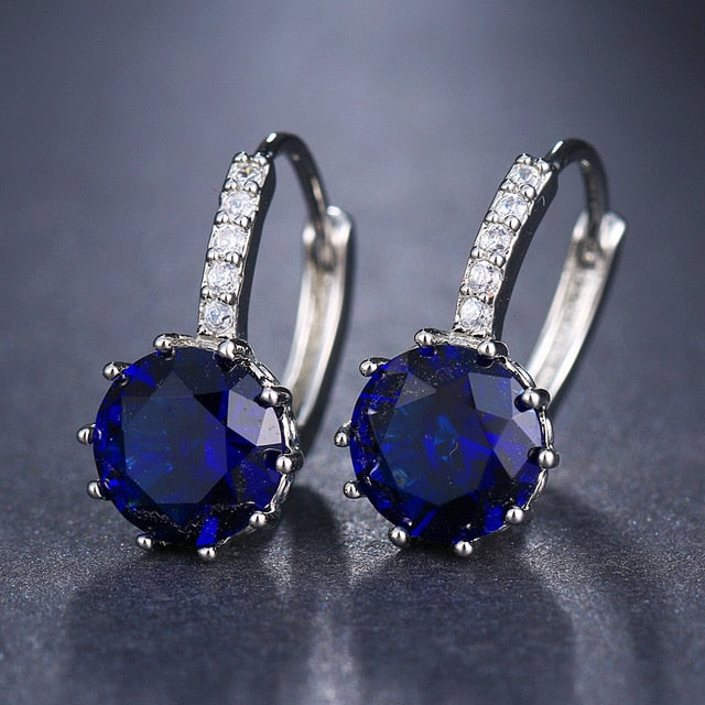Round Cubic Zirconia Push Back Earrings