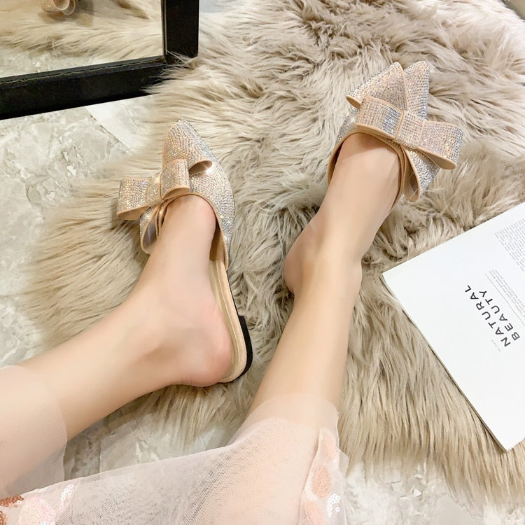 Rhinestone Bow Pointed Toe Lazy Flat Slip On