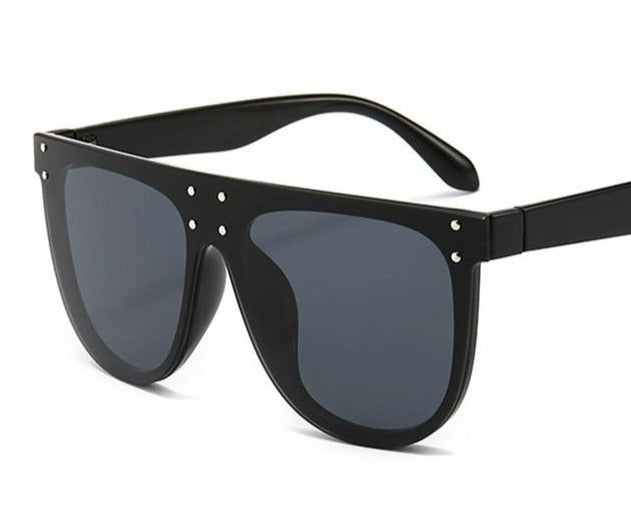 Flat Top Oversized Mirror Lens Unique Rivet Square Sunglasses