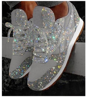 Crystal Shining Flat Lace Up Platform Sneakers
