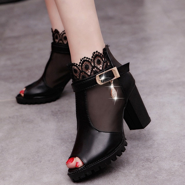 Velvet Flock Fish Mouth High Heel Platform Buckle Ankle Boots