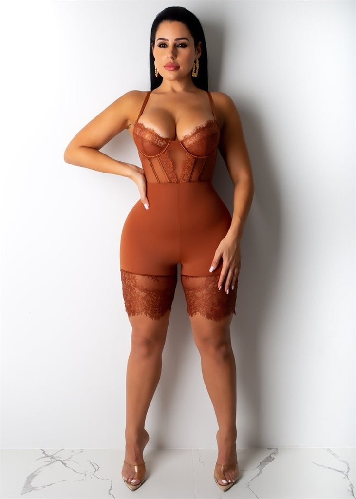 Spaghetti Strap Lace Hollow Out Romper