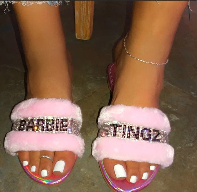 Crystal Letter Bling Open Toe Faux Fur Straps Flat Slippers