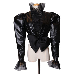 Mesh Patchwork PU Leather V-Neck Puff Long Sleeve High Waist Bow Coat