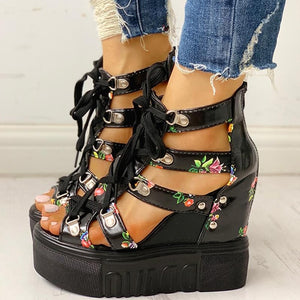 Floral PU Leather Lace Up Chunky Super High Heel Wedge