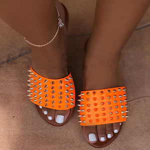 Open Toe Metal Spike Rivets Soft Outdoor Slippers