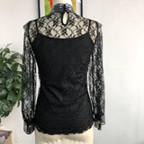 Floral Lace Embroidery Turtleneck Long Sleeve Blouse