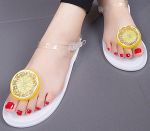 Clip Toe Butterfly Detail Transparent Ankle Strap Flat Sandals