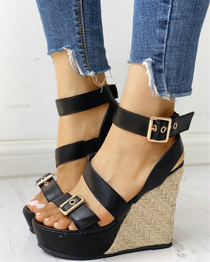 Gladiator Ankle Strap Platform High Heels Wedges