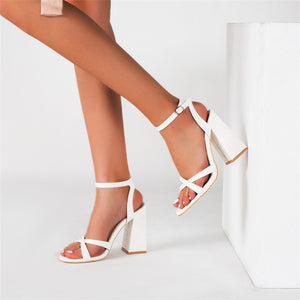 Cross PU Leather Peep Toe Chunky High Heel Sandal