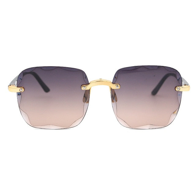 Frameless Gradient Lens Retro Square Sunglasses