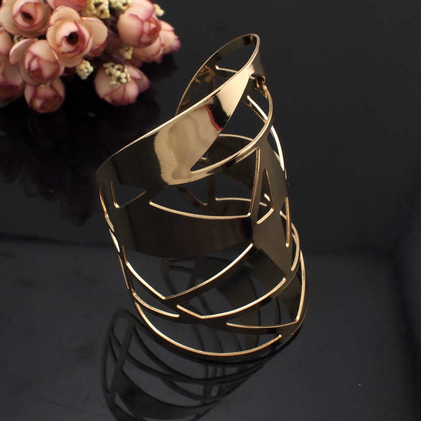 Geometric Hollow Shiny Faceted Alloy Large Open Cuff Bracelet Bangle