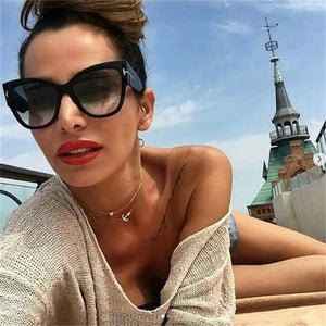 Gradient Lens Gold T Decor Vintage Oversized Frame Cat Eye Sunglasses