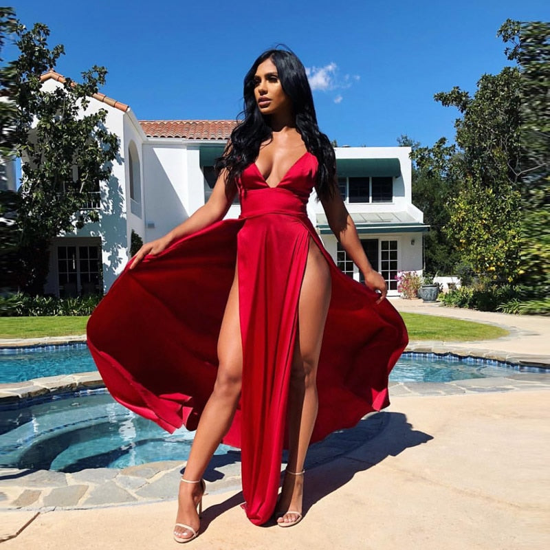 https://ae01.alicdn.com/kf/HTB1afExEHSYBuNjSspiq6xNzpXa6/Sexy-High-Split-Long-Party-Dress-V-Neck-Strappy-Padded-Red-Navy-Green-Satin-Summer-Dress.jpg