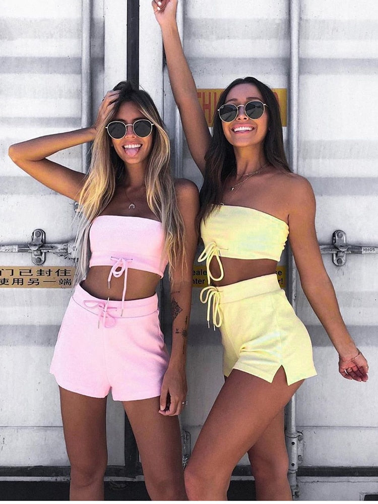 Two Piece Elastic Strapless Drawstring Crop Top & Shorts Set