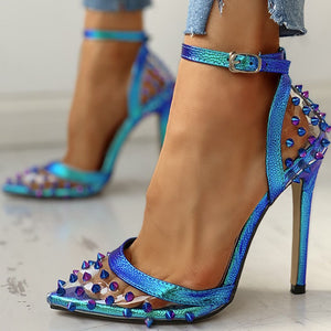 Ankle-strap Pointed Toe Rivet Thin High Heel Sandal