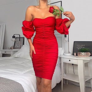 Off Shoulder Puff Sleeve Ruched Bodycon Dress