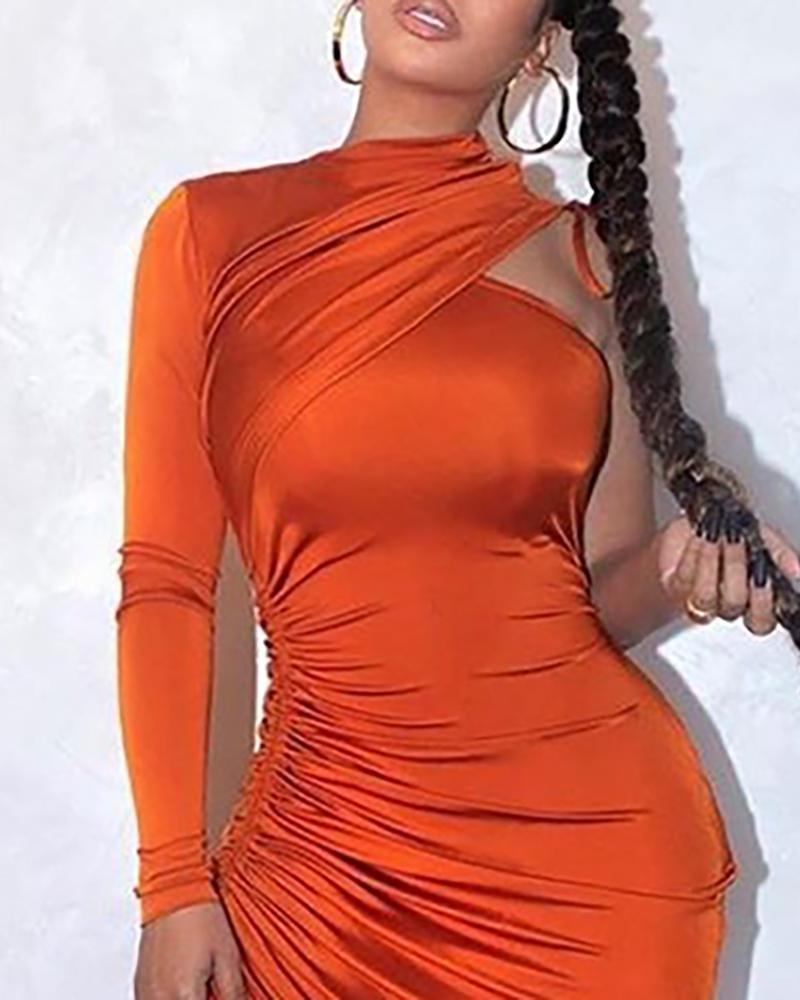One Shoulder Drawstring Ruched Solid Long Sleeve Mid-Calf Bodycon Dress