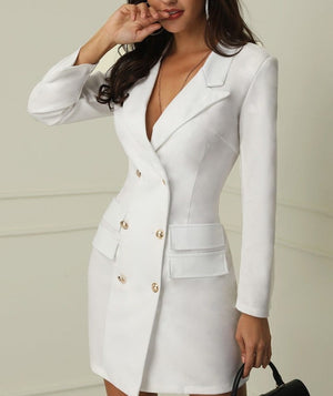 Double Breasted Pocket Turn Down Collar V-Neck Blazer Long Sleeve Dress