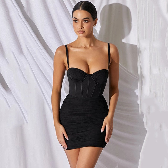 Ribbed Mesh Spaghetti Straps Ruched Mini Bodycon Dress