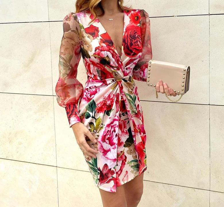 Mesh Floral Print Twisted Waist Bodycon Dress