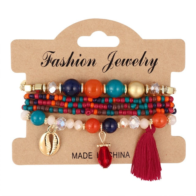 Boho Colorful Round Gem Bead Metal Pendant Rope Chain Charm Bracelet