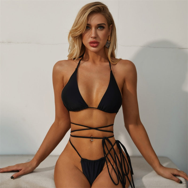 Strappy Two Piece Bandage Backless Thong Bikini