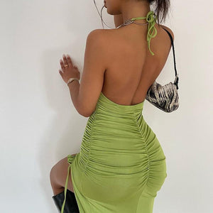 U-neck Halter Chain Strap Backless Drawstring Bodycon Dress