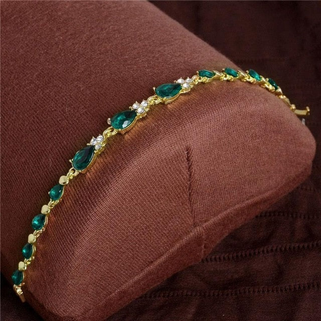 Colorful Cubic Zirconia Crystal Link Chain Fold Over Lock Bracelet