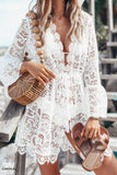 Floral Lace Crochet V Neck Long Sleeve Scallop Edge Bikini Cover Up