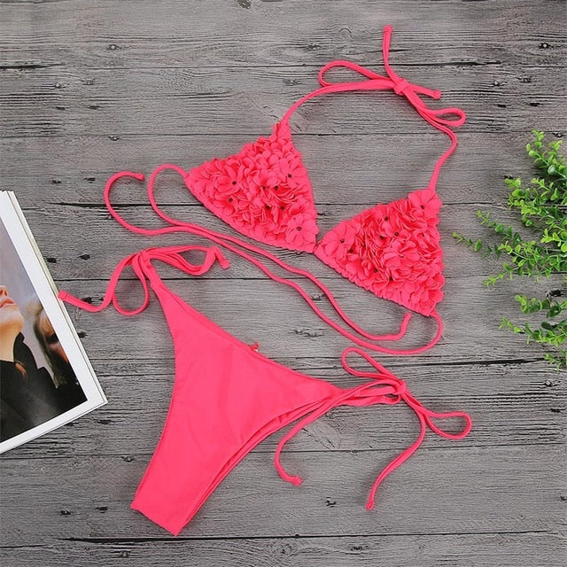 3D Flower Halter V Neck Push Up Low Waist Tie Side Bikini