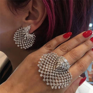 Hollow Out Shell-Shaped Full Rhinestone Statement Ring Earrings Set