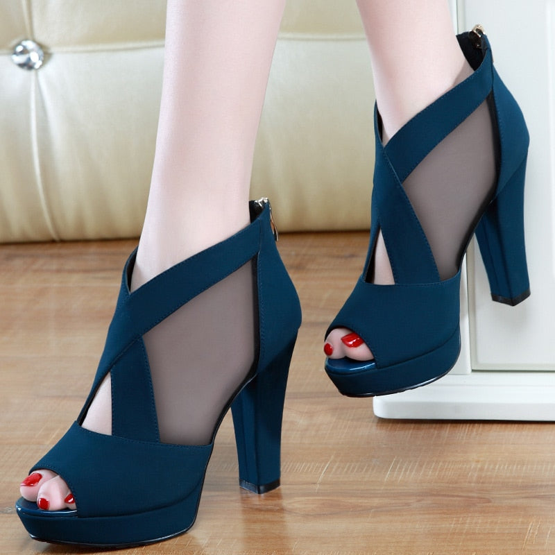 Mesh Breathable Zip Pointed Open Toe Square High Pumps Heels