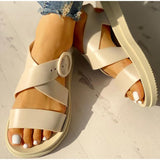 Gladiator Open Toe Buckle Soft Jelly Flat Sandals