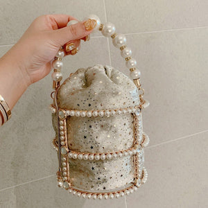 Hollow Out Beaded Pearl Bucket Drawstring Metallic Handbag