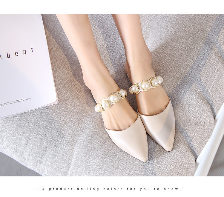 Retro-Style Pearl Decorated Spiked Flat-Soled Low Heel Slip On