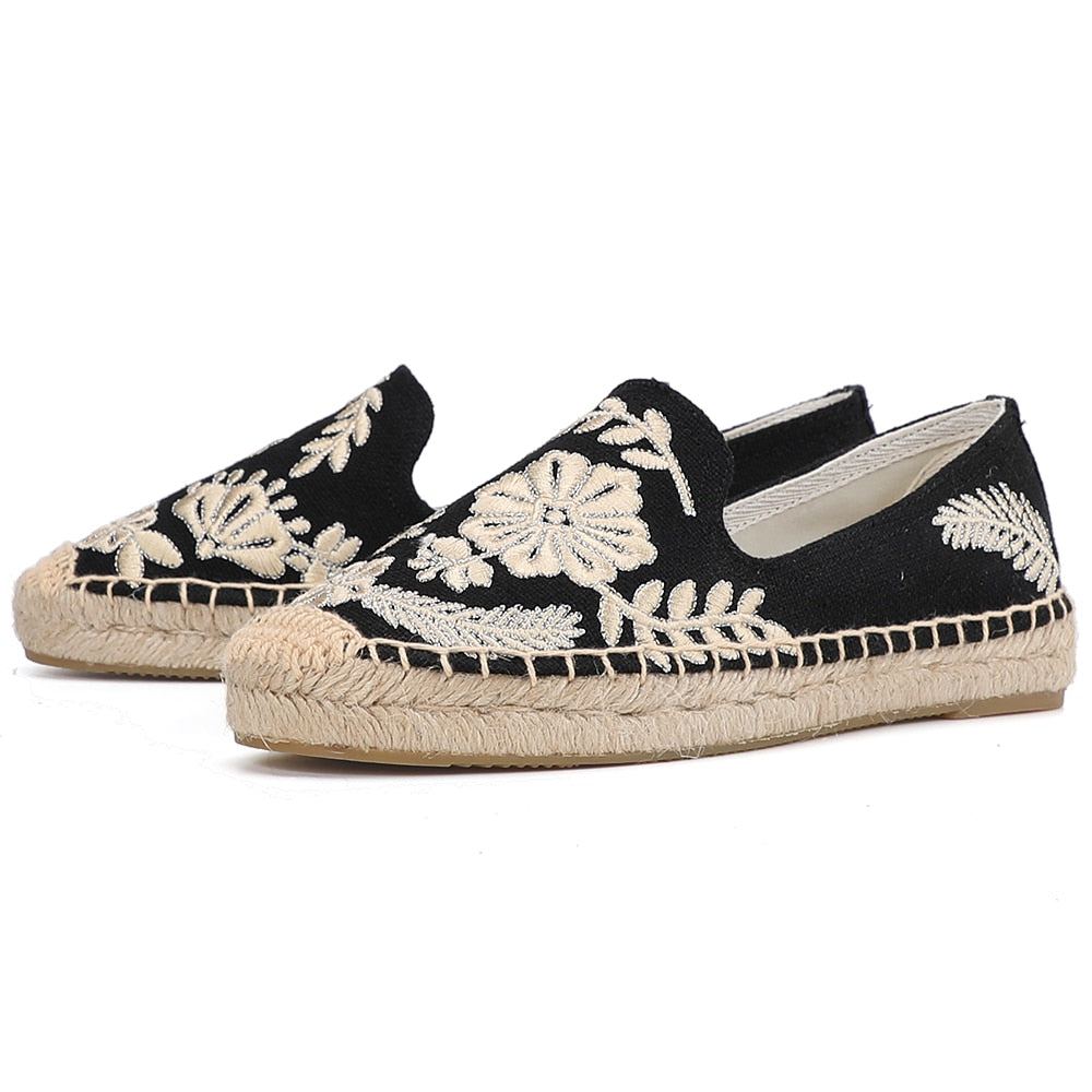 Breathable Flax Hemp Canvas Embroidery Details Espadrilles Slip On