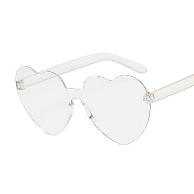 Candy Color One Piece Love Heart Transparent Plastic Retro Sunglasses