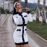 Long Sleeve Button Stitching Bodycon Dress