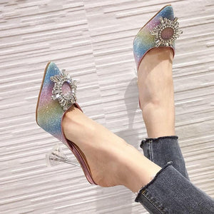 Elegant Pointed Toe Rhinestone High Heel Crystal Slip On