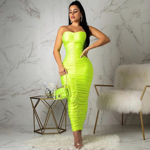 Ruched Long Bandage Strapless Bodycon Dress