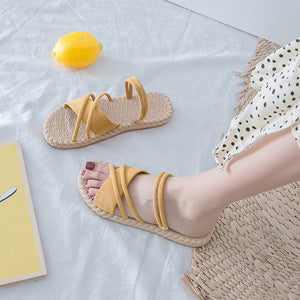 Thin Strips Gladiator Flip Flop Slides Flat Sandals