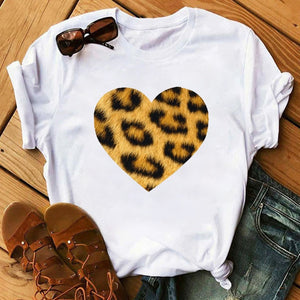 Funny Big Lips Leopard Print Short Sleeve O-Neck T-Shirt