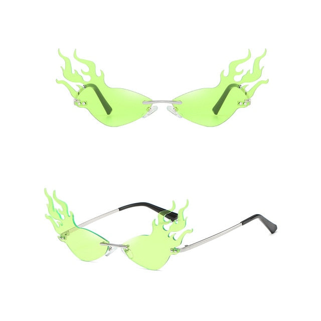 Fire Flame Rimless Wave Mirror Lens Narrow Cat Eye Sunglasses