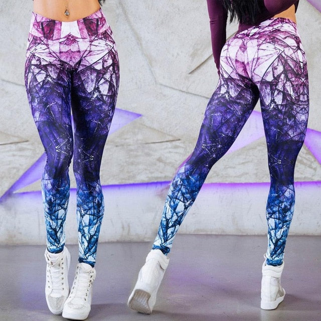 Abstract Digital Print Retro Style Sports Compression Leggings