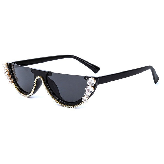 Metal Jewel Frame Trendy Rhonestone Diamond Cat Eye Sunglasses