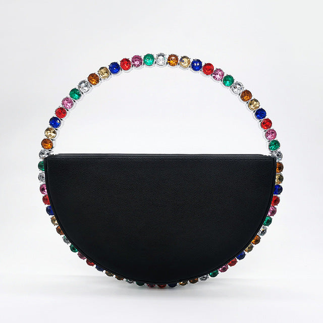 Circular Diamond Round Handle Rhinestone Half Moon Clutch Bag