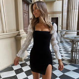 Slash Neck Sleeveless Split Knitted Elastic Bodycon Dress