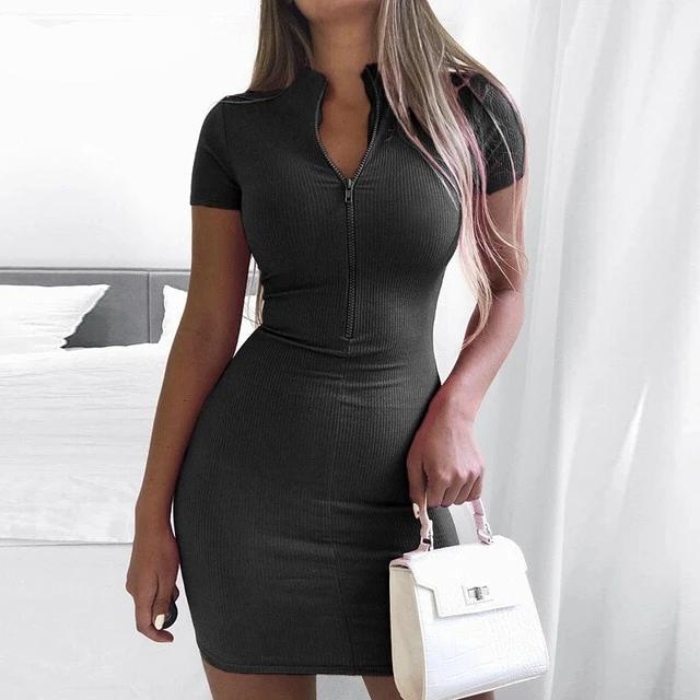 Zip Knitted Turtleneck Short Sleeve Bodycon Dress