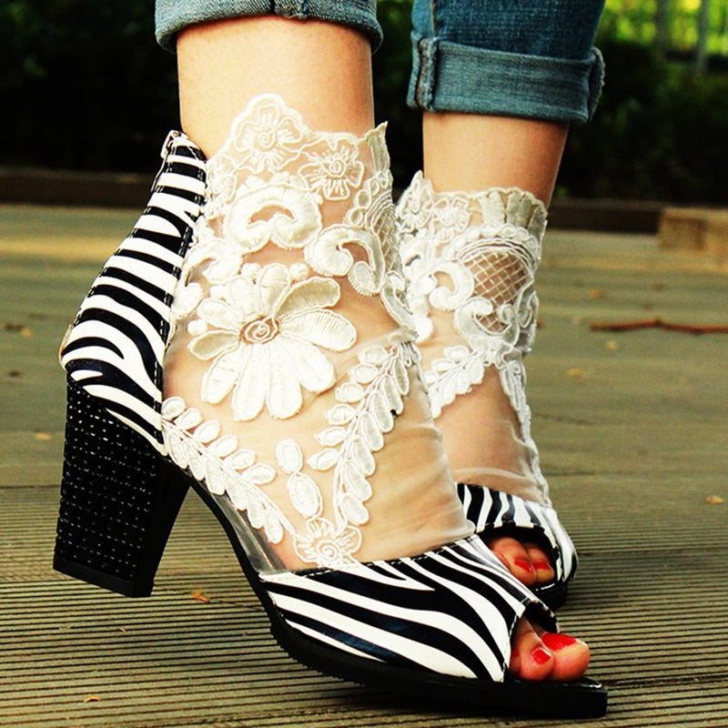 Flower Embroidery Perspective Mesh Leather Zipper Peep Toe Heeled Sandals